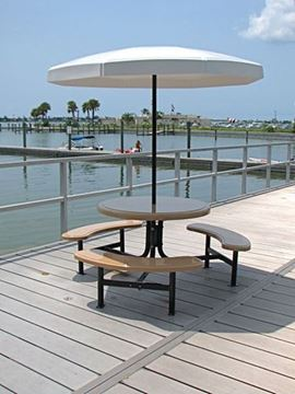 Picture of 6 Foot Valance Octagon Fiberglass Umbrella Top with 1 1/2 Inch Powder Coated Black Pole