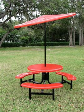 Picture of Umbrella 6 foot Round Starburst Fiberglass Top with 1 1/2 Inch Powder Coated Black Pole