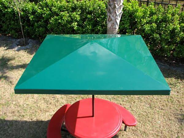 Picture of Umbrella 6 foot Square Bistro Fiberglass Top with 1 1/2 Inch Powder Coated Black Pole