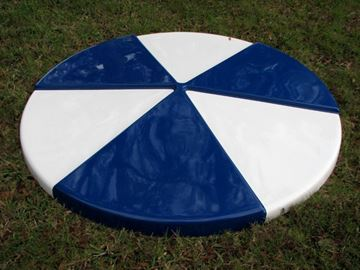 Picture of Umbrella 6 foot Round Pinwheel Fiberglass Top with 1 1/2 Inch Powder Coated Black Pole