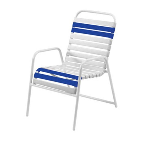 Picture of Promo Pool Furniture, St. Maarten Dining Chair Vinyl Straps with White Aluminum Frame, Blue or White Straps