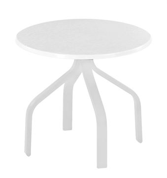 "Picture of Round 18"" Cocktail Table Fiberglass with White Aluminum Frame - 12 lbs."