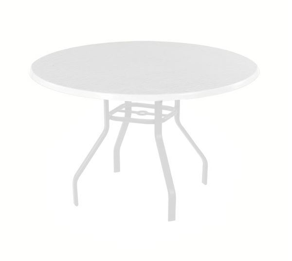 Picture of Pool Furniture, Round Dining Table 42 or 48 Inch White Fiberglass Top with 1 Inch White Aluminum Frame