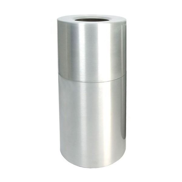 Picture of Pool Deck Trash Can Heavy Gauge Aluminum 35 Gallon Round Open Top with Plastic Liner, Portable