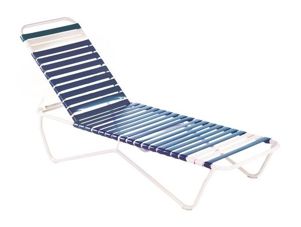 Picture of Promo Pool Furniture, St. Lucia Chaise Lounge Vinyl Strap with Aluminum Frame, All White