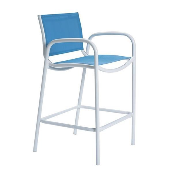 Picture of Tropitone Millennia Relaxed Sling Bar Stool with Aluminum Frame, 11 lbs.