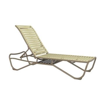 Picture of Tropitone Millennia EZ Span Vinyl Strap Chaise Lounge with Shelf for Storage, Stackable, 31 lbs.