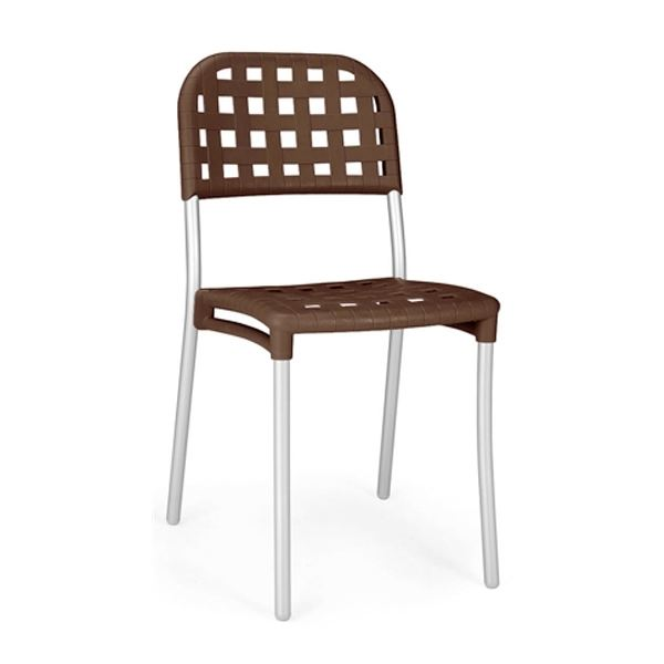 Alaska Cafe Stackable Chair Coated Aluminium And Matt Resin, 6 Lbs.