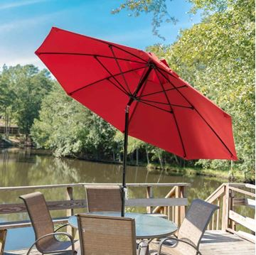 11 Foot Octagonal Fiberglass Market Umbrella with Marine Grade Fabric with Auto Tilt and Crank Lift