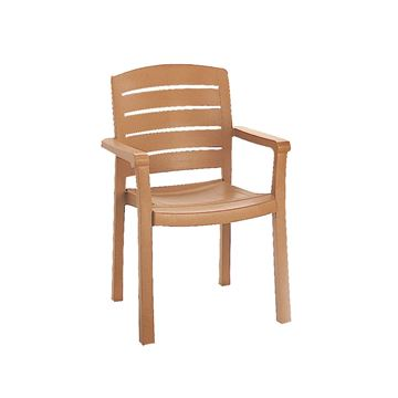 Acadia Classic Plastic Resin Stacking Armchair - Teakwood