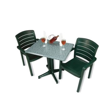 Picture of Acadia Dining Sets, Includes 2 Plastic Resin Acadia Armchairs with a Molded Melamine 24x32 Inch Tables, Minimum Order Required