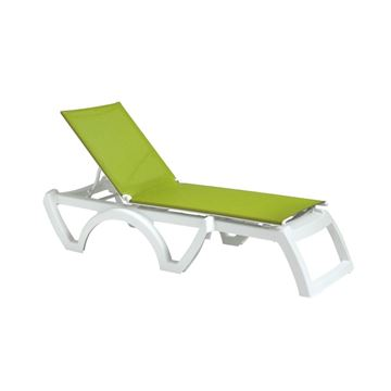 Calypso Plastic Resin Sling Stackable Chaise Lounge - Fern Green / White