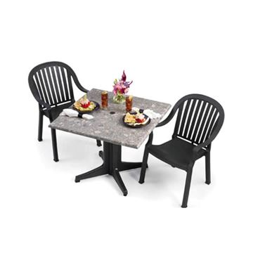 Picture of Colombo Dining Sets, Includes 2 Plastic Resin Colombo Armchairs with 36 Inch Square Molded Melamine Tabletop and Resin Table Base, Minimum Order Required