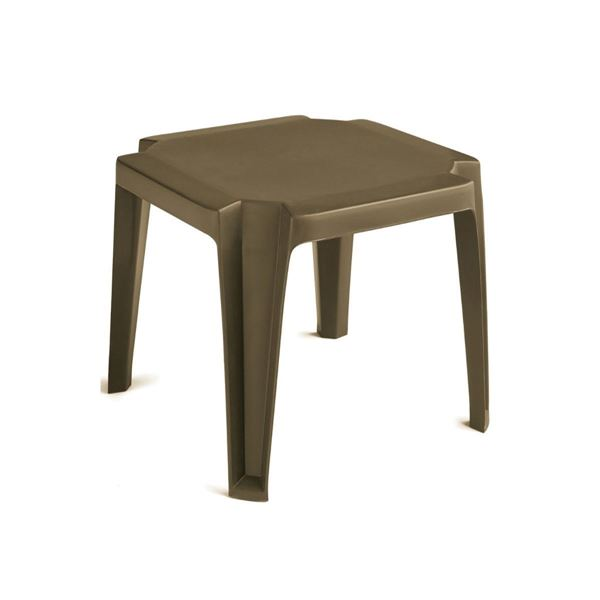 Miami 17 Inch Square Low Stacking Table Plastic Resin - Bronze