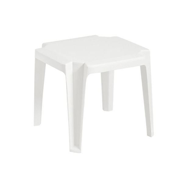 Miami 17 Inch Square Low Stacking Table Plastic Resin - White
