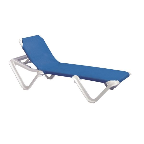Nautical Plastic Resin Sling Stackable Chaise Lounge, White Frame Pool Furniture