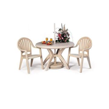 Picture of Pacific Fanback Dining Set, Includes 4 Armchairs with an Ibiza Round 46 Inch Resin Table, Minimum Order Required