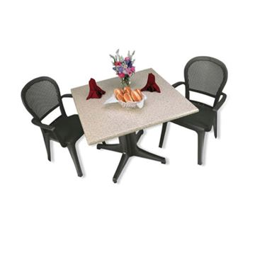 Picture of Seville Dining Sets, Includes 2 Plastic Resin Seville Armchairs with a Square 36 Inch Molded Melamine Table, Minimum Order Required