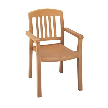 Atlantic Classic Plastic Resin Stacking Dining Chair - Teakwood