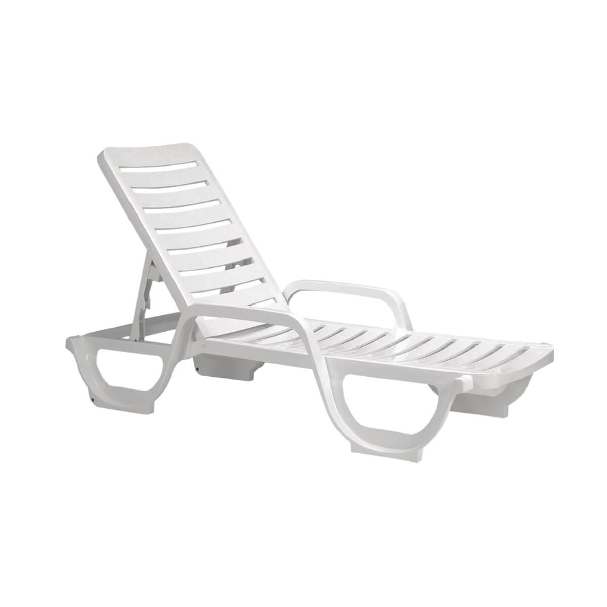 White Bahia Plastic Resin Chaise Lounge 30 Lbs Pool