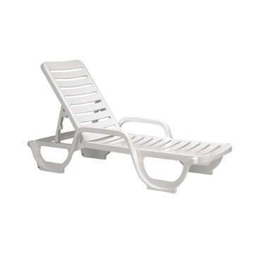 White Bahia Plastic Resin Chaise Lounge