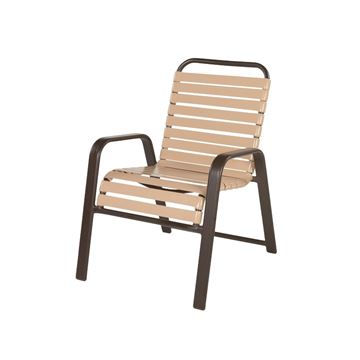"Picture of Anna Maria Dining Arm Chair 2"" Vinyl Strap with Stackable Aluminum Frame, 14 lbs."