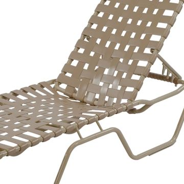 Picture of St. Maarten Extended Bed Chaise Lounge Vinyl Crossweave Straps with Aluminum Frame, 25 lbs.