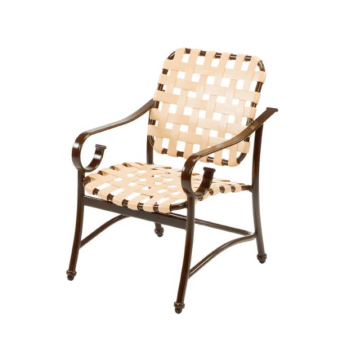 Dining Chair Crossweave Vinyl Strap Aluminum Frame Pool