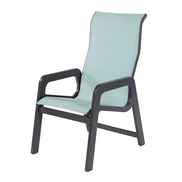 Malibu High Back Dining Arm Chair Fabric Sling with Marine Grade Polymer
