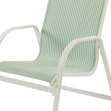 Ocean Breeze Dining Chair Fabric Sling with Stackable Aluminum Frame