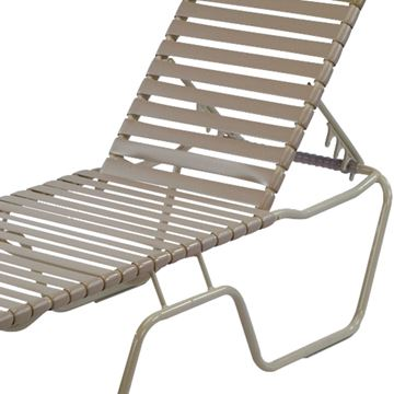 Picture of St. Maarten Chaise Lounge Vinyl Straps with Stackable Aluminum Frame. Hotel grade Vinyl Strap Commercial Pool Furniture