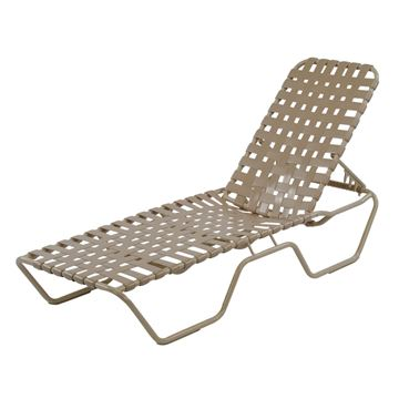 St. Maarten Cross Weave Chaise Lounge Vinyl Strap Pool Furniture with Aluminum Frame