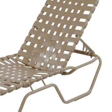 Picture of St. Maarten Cross Weave Chaise Lounge Vinyl Strap Pool Furniture with Aluminum Frame