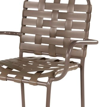 Picture of St. Maarten Poolside Bar Stool with Arms, Crossweave Vinyl Straps with Aluminum Frame, 20 lbs.