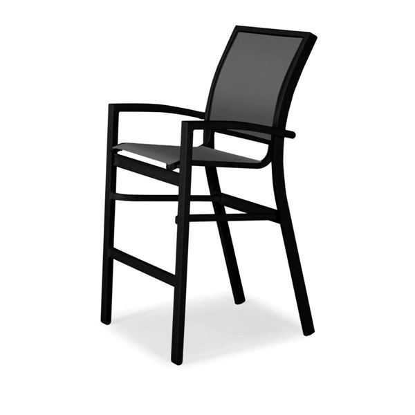 Picture of Kendall Sling Stacking Bar Height Stacking Café Chair with Aluminum Frame, 24 lbs.