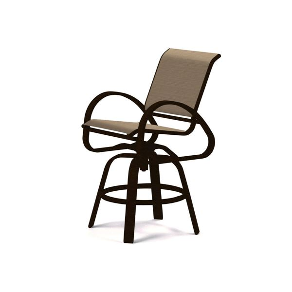 Picture of Telescope Aruba Bar Height Swivel Cafe Chair Fabric Sling with Aluminum Frame