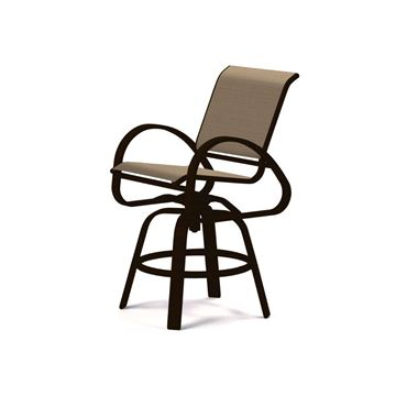 Picture of Telescope Aruba Counter Height Swivel Cafe Chair Fabric Sling with Aluminum Frame