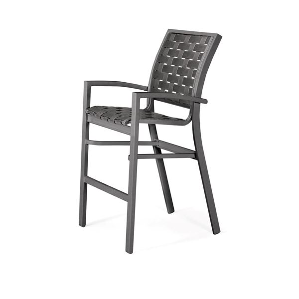 Picture of Telescope Kendall Cross Weave Strap Stacking Bar Height Stacking Cafe Chair with Aluminum Frame, 29.5 lbs.