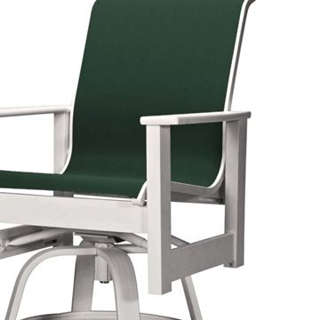 Telescope Leeward Counter Height Swivel Arm Chair Fabric Sling with Marine Grade Polymer Frame