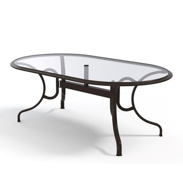 Picture of Telescope Oval Dining Table 43x75 Inch Glass with Aluminum Frame