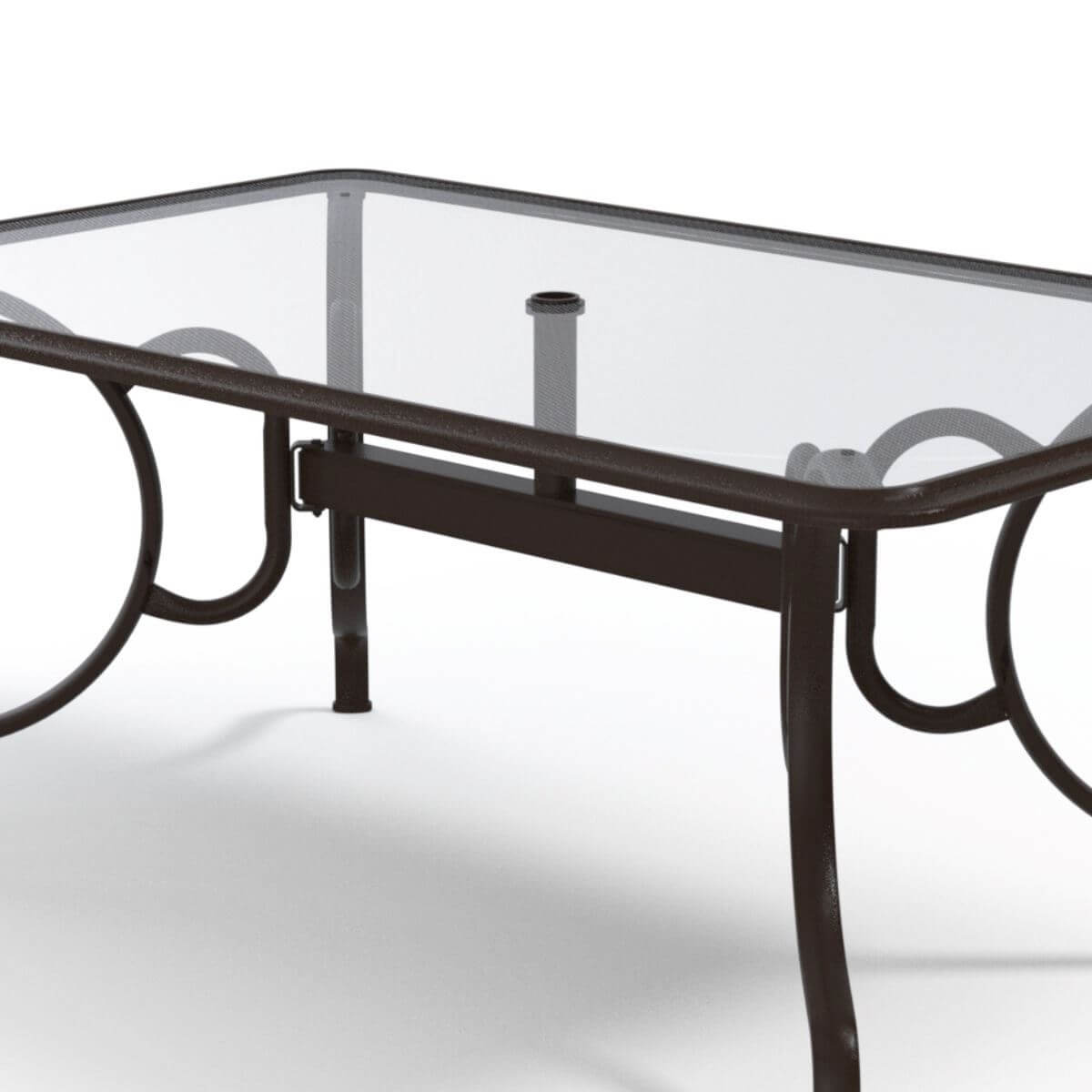 Dining Table 42x68 Inch Rectangular Glass Aluminum Pool Furniture