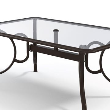 Rectangular Dining Table 42x68 Inch Glass with Aluminum Frame