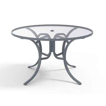 Picture of Telescope Round Dining Table 48 Inch Acrylic Top with Aluminum Frame