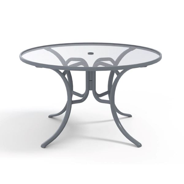 Round Dining Table 48 Inch Acrylic Top with Aluminum Frame