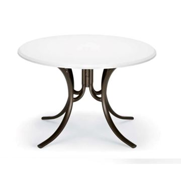 Picture of Telescope Round Dining Table 48 Inch Werzalit Table with Aluminum Frame