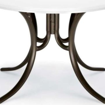 Round Dining Table 48 Inch Werzalit Table with Aluminum Frame