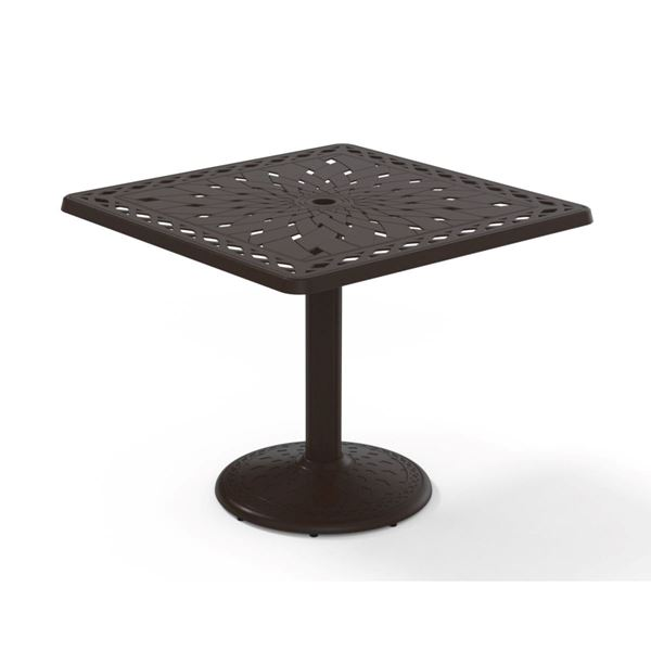 Square Dining Table 36 Inch Cast Aluminum with Pedestal Base