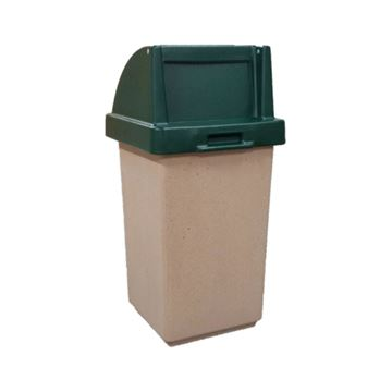 Picture of 30 Gallon Concrete Pool Deck Trash Can with Self Closing Top, 280 lbs.