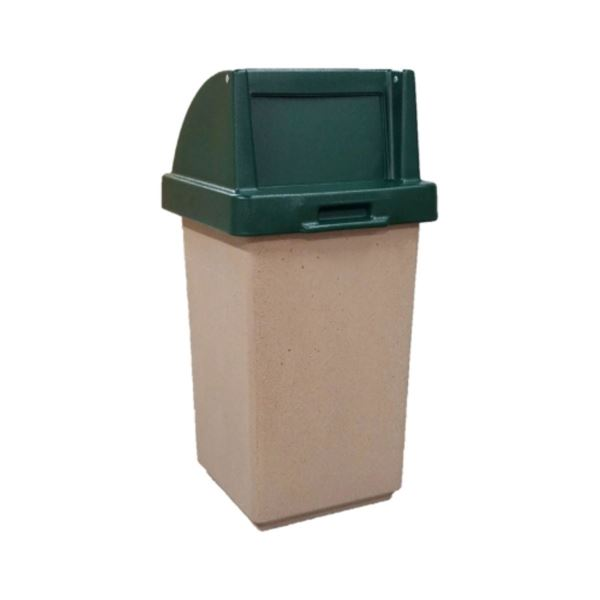 30 Gallon Concrete Pool Deck Trash Can with Self Closing Top