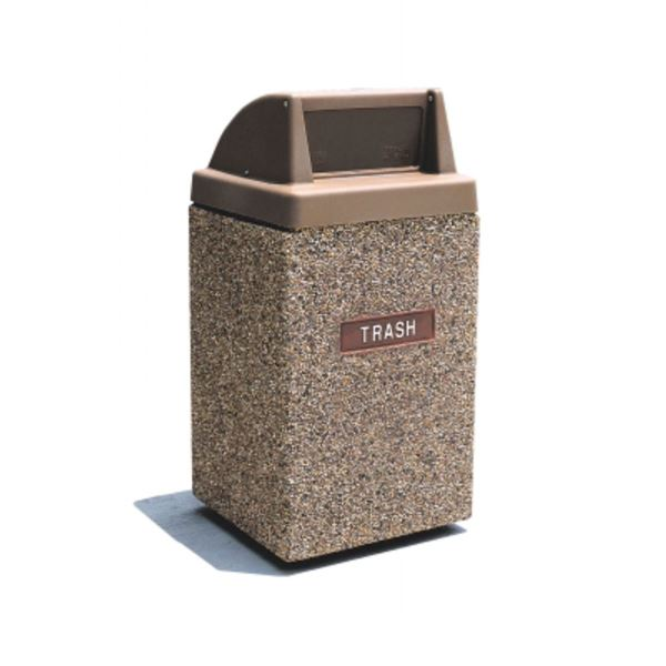 Picture of 45 Gallon Concrete Pool Deck Trash Can with Push Door Top, 870 lbs.